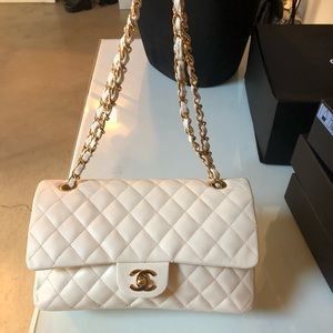 Auth CHANEL M//L Ivory White Lambskin Double Flap